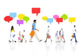 People with speech bubbles — Stok fotoğraf