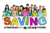 Group of Children and Saving Concepts — Stock Photo