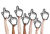 Group of People Holding Cursor — Stock Photo