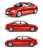 Three Red Sedans in a Row — Stock Photo