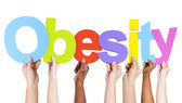 Arms Holding Text Obesity — Stock Photo
