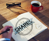 Businessman's table with Shares Concept — Stock Photo