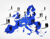 Cartography Of EU And Business People — Stock Photo