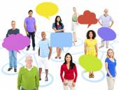People with empty speech bubbles — Stock Photo