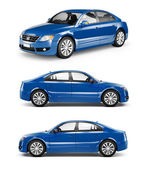 3D Image of Blue Family Car — Stock Photo