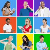 Multi-Ethnic People Social Networking — Stock Photo