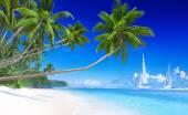 Plachetnice na pláž a palem — Stock fotografie