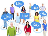 People Above Speech Bubbles With Like — Stock Photo