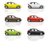 Multicolored New Modern Cars — Stock Photo