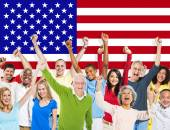 People And American Flag — Foto Stock