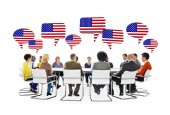 People in Meeting and Flag of United States — Stock Photo