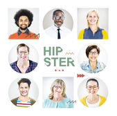 Portrait of Colorful Cheerful Hipsters — Stock Photo