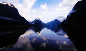 Milford Sound in break in storm — Stock Photo