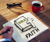 Man with Note and Faith Concept — Stock Photo