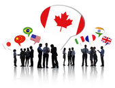 People With Flags in speech bubbles — Stock Photo