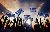People Holding the Flags of Greece — Stock Photo