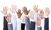 Group of business people hands up — Stock Photo