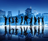 Business People Silhouettes Jumping — Stock Photo