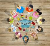 Multiethnic Group of Children with Education Concept — Stock Photo
