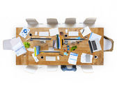 Office Table with Equipments and Chairs — Stock Photo