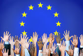 Hands With the European Union Flag — Stock Photo