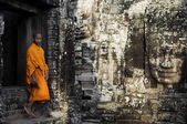 Contemplating Monk in Cambodia — Stock Photo