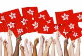 Hands holding Flags of Hong Kong — Stock Photo