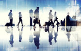 Business Travellers Walking in Airport — Stock Photo