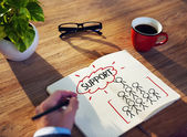 Man Writing Support Concepts — Stock Photo