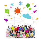 Group of Multiethnic Cheerful Children Childhood Activities — Stock Photo