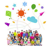 Group of Multiethnic Cheerful Children Childhood Activities — Stockfoto