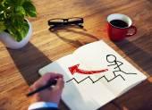 商人集思广益增长概念的讨论 — 图库照片