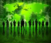 Business People on Green World Economic — Stok fotoğraf
