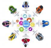 Insan ve bilgisayar ağ kavramları — Stok fotoğraf