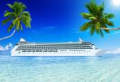 Cruise liner and palm trees — Stok fotoğraf
