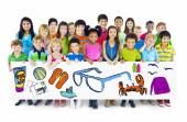 Group of Children Holding Summer Concept Billboard — Stock Photo