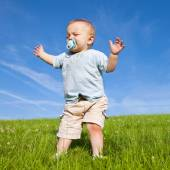Baby lost in grassland — Stock Photo
