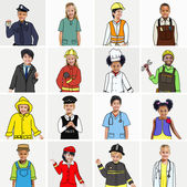 Multiethnic group of Children with Various Jobs Concepts — Stock fotografie