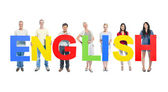 People holding word 'English' — Stock Photo