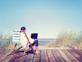 Businessman Working by Beach — Stock Photo
