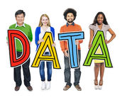 Group of People Holding Word Data — Stock Photo