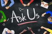 People and Ask Us Concept — Stock Photo