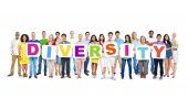 People holding placards forming diversity — Stock Photo