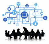 Business people and Computer network Connection — Stock Photo