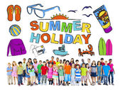 Group of Multiethnic Children with Summer Holiday Concept — Stock Photo