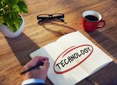 Businessman Writing 'Technology' — Foto de Stock