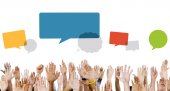 Multiethnic Hands with Speech Bubbles — Stock Photo