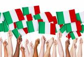 Hands holding Italian Flags — Foto Stock