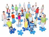 Large Group of People on puzzles — Stock Photo