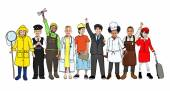 Multiethnic Group of Children with Various Occupations Concept — Stockfoto